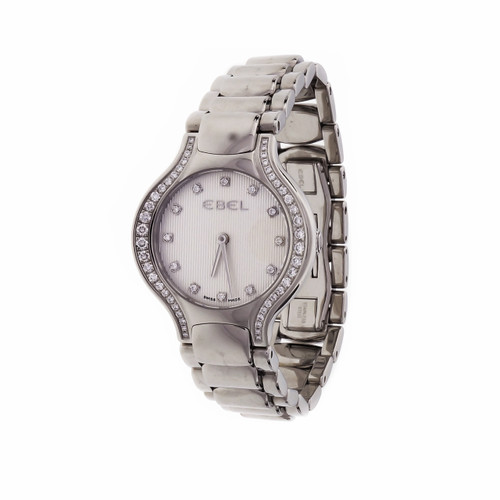Ebel Beluga Diamond Bezel Diamond Dial Ladies Wrist Watch Quartz Steel