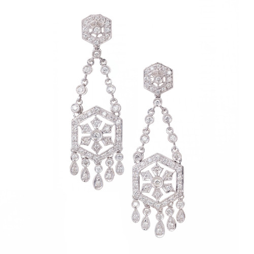 Chandelier Diamond Dangle Earrings 1.25ct 18k White Gold