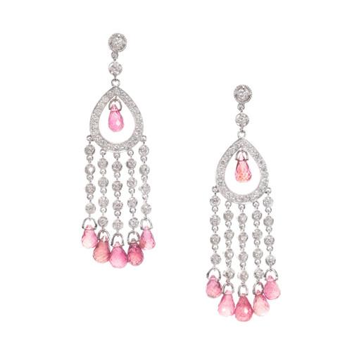 Chandelier Dangle Earrings Pink Tourmaline Briolette Diamond 18k White Gold