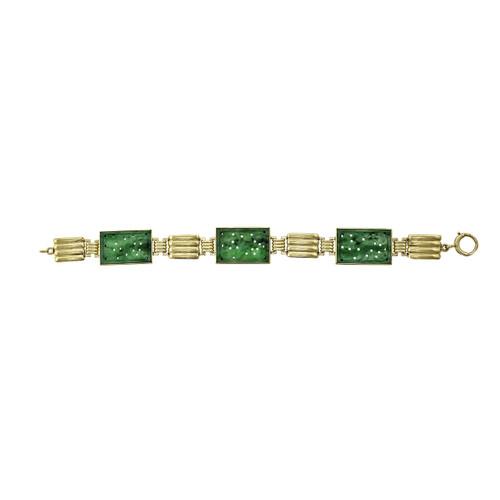 Vintage 1930 Natural Jadeite Jade Bracelet GIA Certified 14k Gold