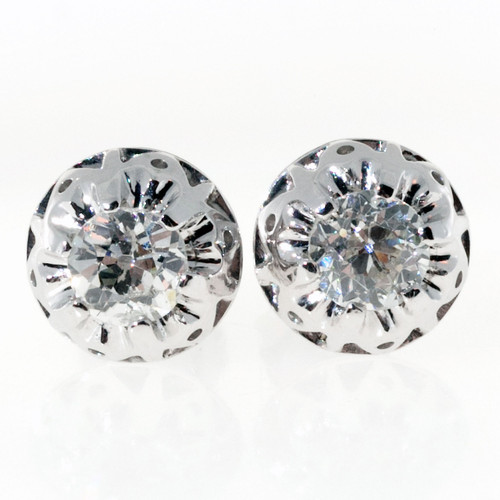 Rare Antique Art Deco Old Mine Cut Diamond Domed Top Earrings .75ct Total