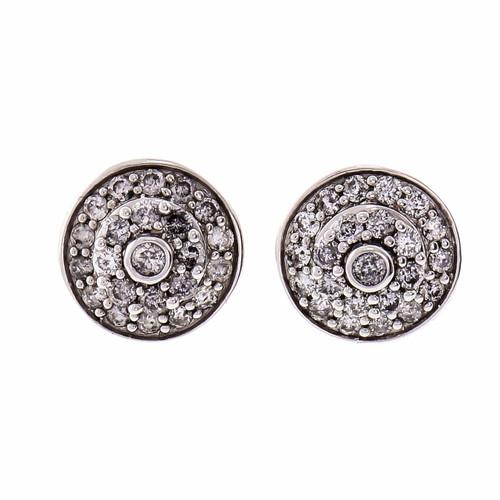 Domed Round Diamond Cluster Earrings 14k White Gold