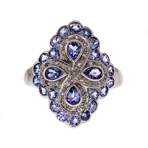 Iolite Diamond Cocktail Ring 14k White Gold