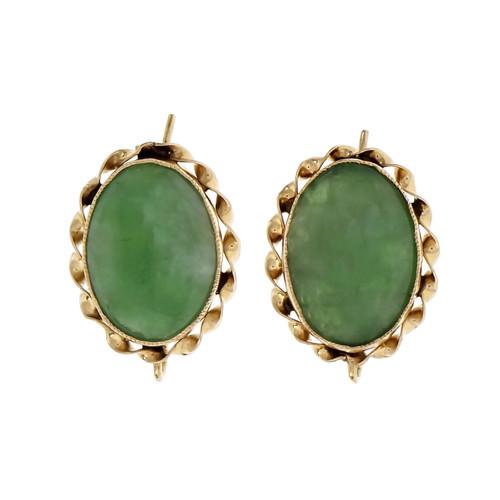 Vintage Jadeite Jade Earrings GIA Certified 14k Gold