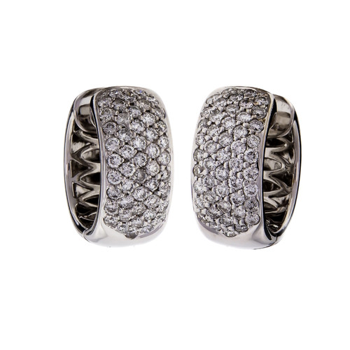 Sonia B Huggie Diamond Hoop Earrings 18k White Gold 1.00cts