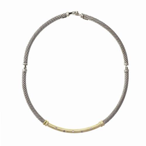 David Yurman Diamond Necklace Silver 14k Gold Metro