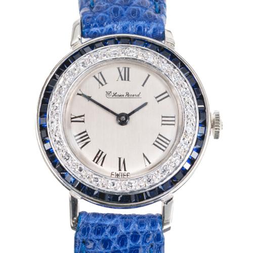 Ladies Lucien Piccard 14k White Gold Watch Sapphire Diamond Strap