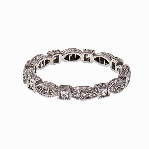 French Cut Vintage Diamond Eternity Ring Platinum