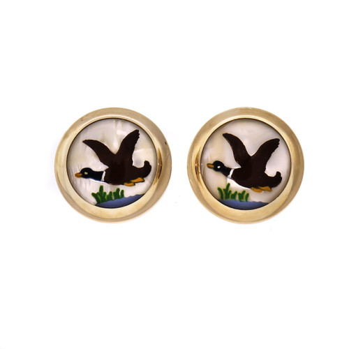 Reverse Carved Hand Painted Quartz Cufflinks Duck 14k Yellow Gold