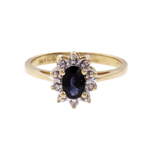 Oval Sapphire Diamond Cluster Ring 14k Gold