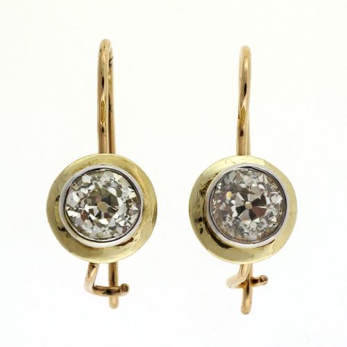 Antique Victorian 1.44ct Old European Cut Diamond Earrings 1900 14k Yellow Gold