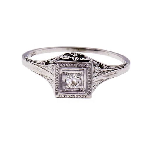 Art Deco Diamond Filigree Engagement Ring 18k White Gold