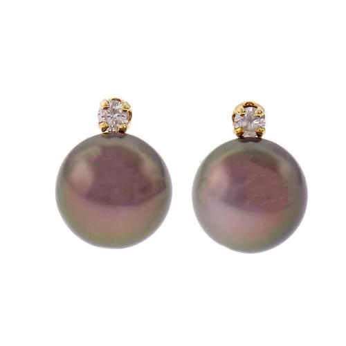 Estate 8.5mm Dyed Black Cultured Pearl Diamond Earrings 14k Gold