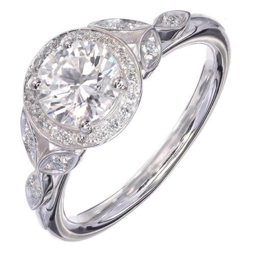Peter Suchy Round Diamond Halo Engagement Ring Platinum GIA Certified