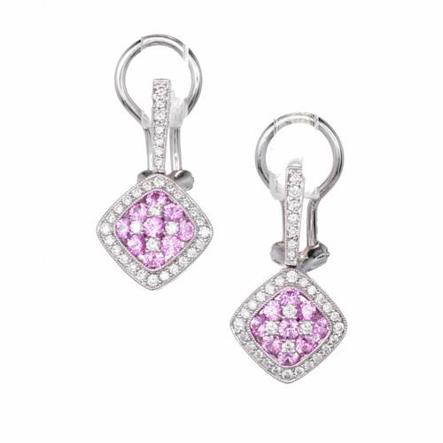Gregg Ruth Pink Sapphire Diamond Cluster Earrings 18k White Gold