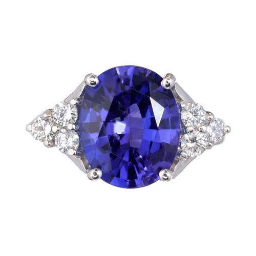 Oval Bright Purplish-Blue Tanzanite Ring 3.00ct Platinum Diamond