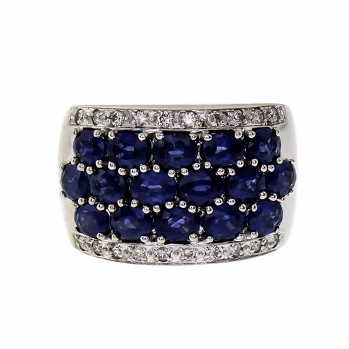 Five Row Sapphire Diamond Ring 14k Gold 4.80ct