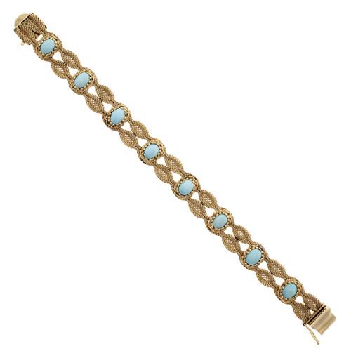 Natural Turquoise Vintage 1950 Bracelet 14k Yellow Gold Mesh