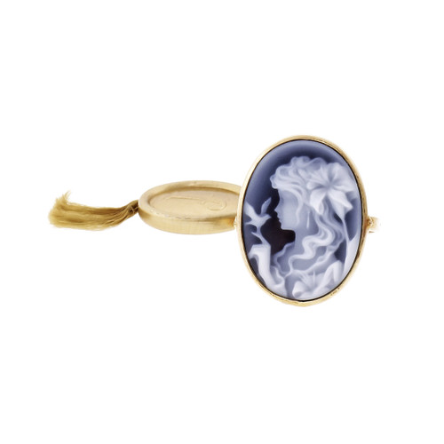 14k Yellow Gold Blue Agate Cameo Ring