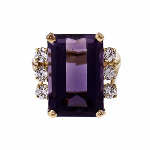 12.25ct Emerald Cut Amethyst Diamond 14k Yellow Gold Cocktail Ring