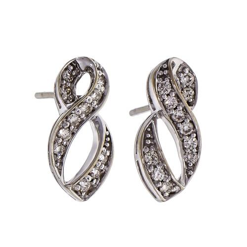 Diamond Swirl 14k White Gold Earrings