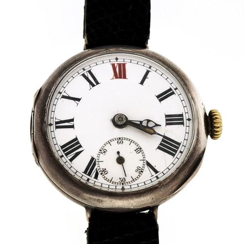 Rare 1916 Rolex Men's Watch World War I 15 Jewel Silver Case Enamel Dial