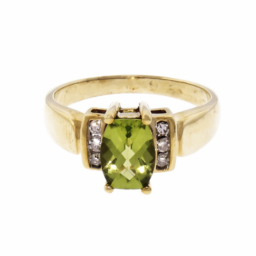 1.25ct Peridot & Diamond 10k Yellow Gold Engagement Ring