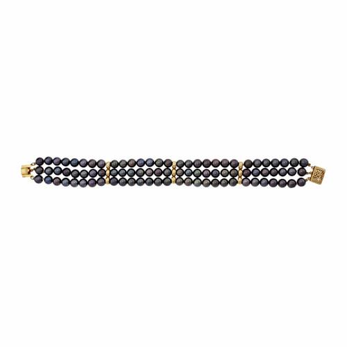 3 Strand Dyed Black Akoya Pearl Bracelet