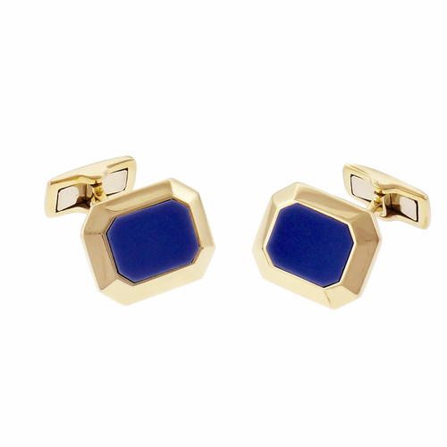 Blue Chalcedony 18k Yellow Gold Men's Cufflinks