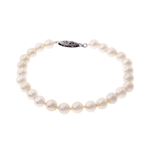 Cultured Pearl Bracelet 7.5 Inches Long 6 – 6.5mm 14k White Gold