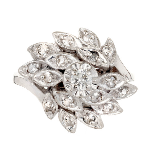 14 Carat White Gold Diamond Flower Cluster Cocktail Ring