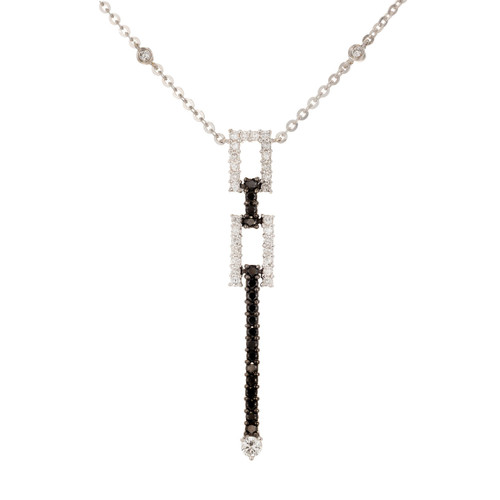 White Black Diamond 18K white gold pendant necklace.