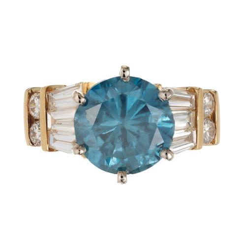 2.89ct Irradiated Blue Diamond 18K Yellow Gold Engagement Ring