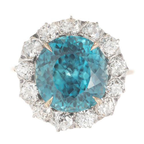 6.80ct Round Blue Zircon Diamond Halo Gold and Platinum Ring