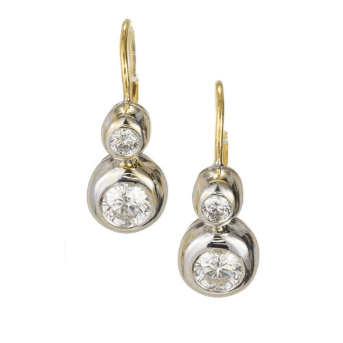 .92 Carat Diamond Bezel Set Two-Tone Gold Dangle Earrings