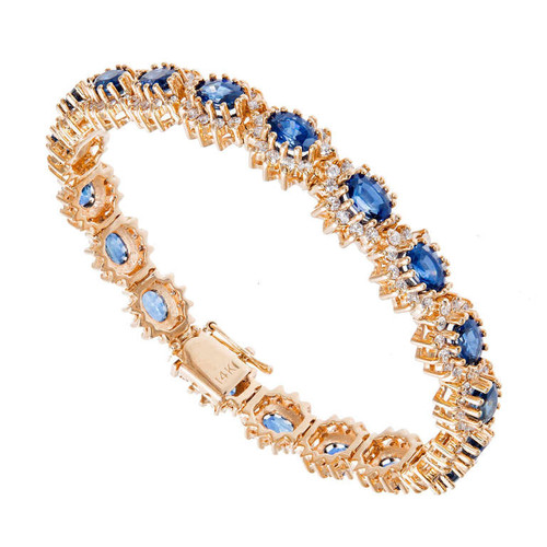 Estate Gem Cornflower Sapphire 11.50ct Diamond 14k Yellow Gold Bracelet