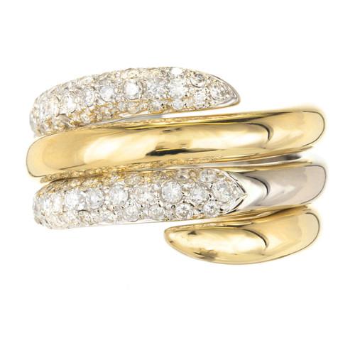 .69 Carat Diamond Interlocking Two Tone Gold Swirl Cocktail Ring