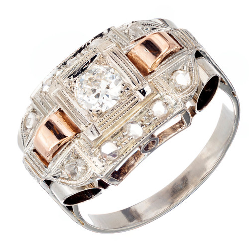 .30 Carat Diamond Art Deco White Rose Gold Engagement Ring