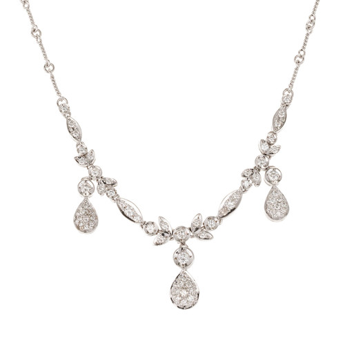 .90 Carat Round Diamond Dangle White Gold Necklace