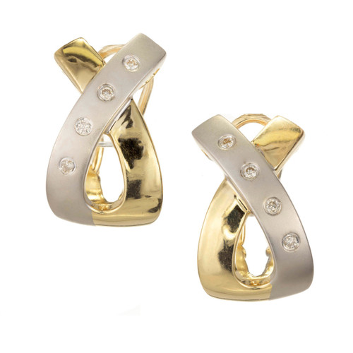 "Diamond ""X"" Design Two-Tone Earrings"