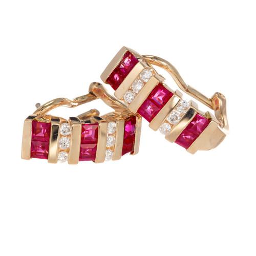 1.08 Carat Ruby Diamond Gold Half Hoop Earrings