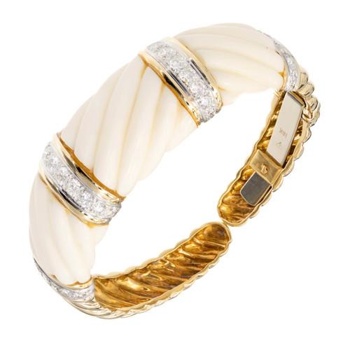 Gia Certified Calcite Diamond Yellow Gold Bangle Bracelet