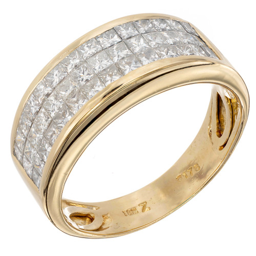 Invisible Set 150 Carat Diamond Band Ring 18K Yellow Gold
