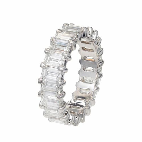Peter Suchy 6.50 Carat Emerald Cut Diamond Eternity Platinum Band Ring