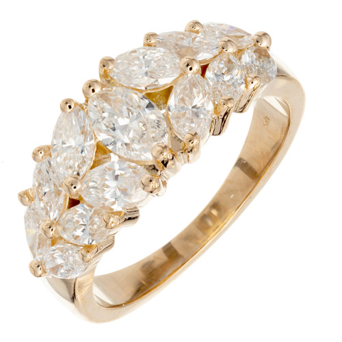 Peter Suchy 1.00 Carat Marquise Diamond Gold Engagement Ring