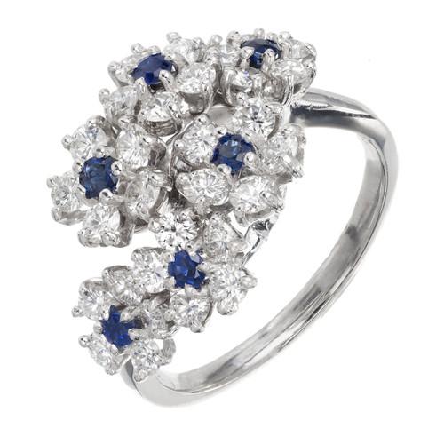 Oscar Heyman Diamond Sapphire Bypass Platinum Cluster Cocktail Ring