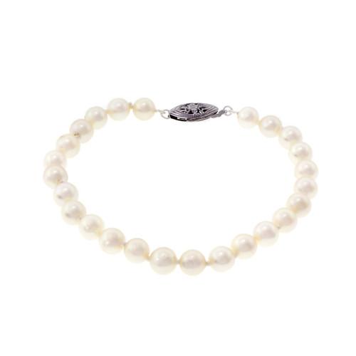 Cultured Pearl Bracelet 6 – 6.5mm 14k White Gold