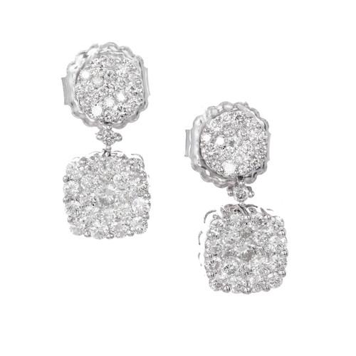 Double Diamond Cluster Dangle Earrings 1.50ct 18k White Gold