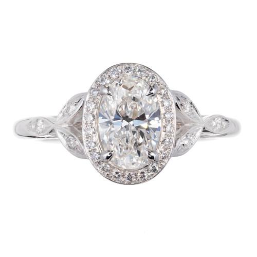 Peter Suchy Oval Diamond Halo Engagement Ring Platinum