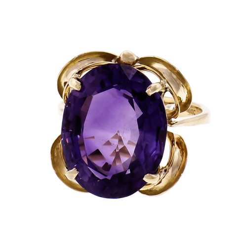 8.09ct Oval Amethyst 14k Yellow Gold Cocktail Ring
